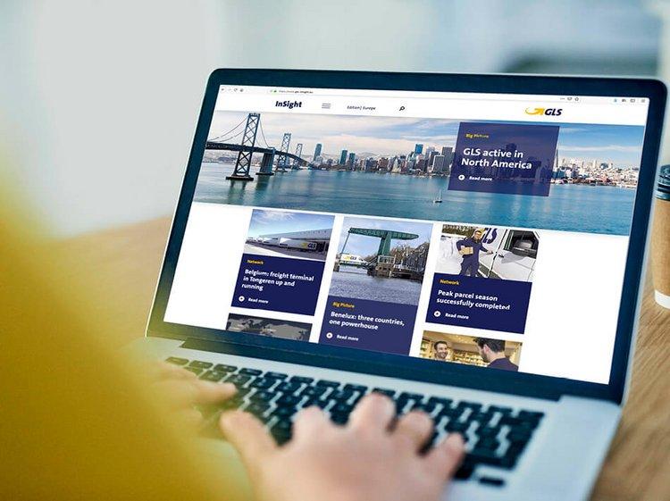 Tablet mit GLS InSight Online Kundenmagazin