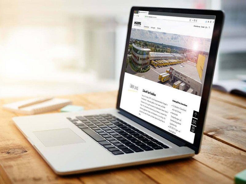 Laptop zeigt Relaunch von Corporate Design und Website der Noerpel-Gruppe